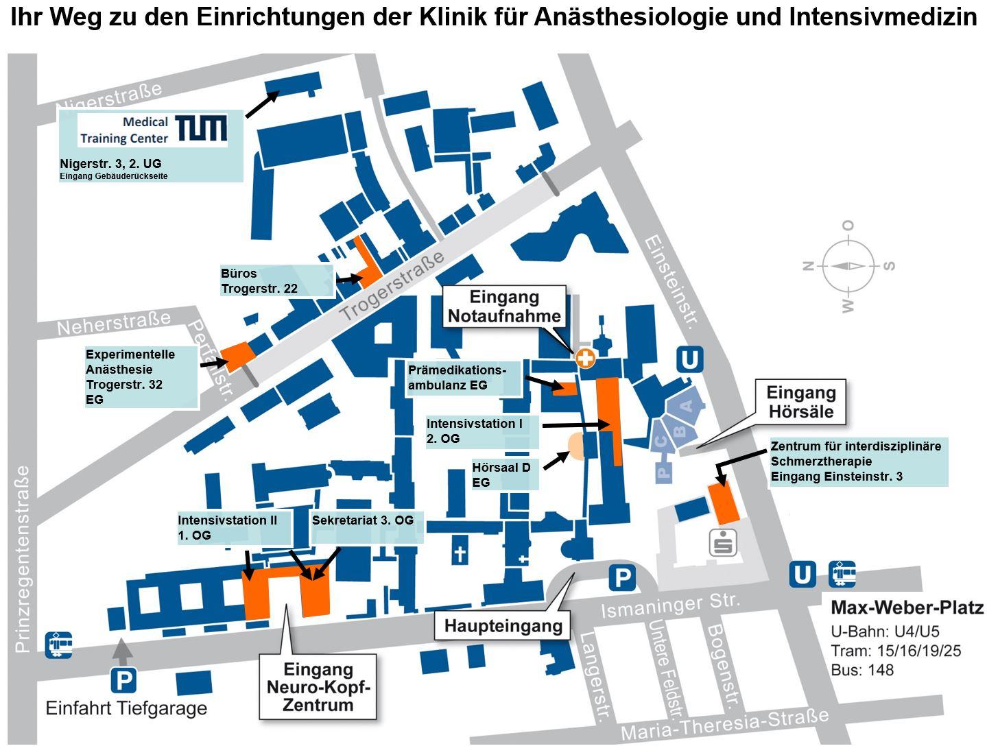 Lageplan Klinik für Anästhesiologie und Intensivmedizin
